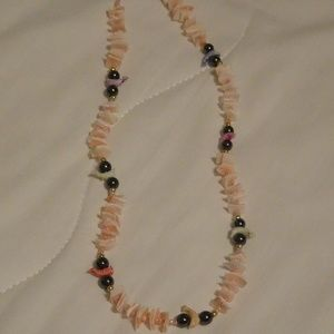 Pink and Black Shell and Bead Necklace